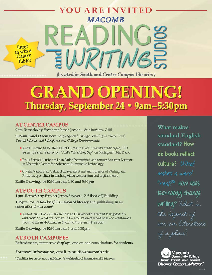 Don't miss grand opening of new Reading and Writing Studios on Sept. 24!